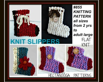 knitting PATTERN slippers, - KNIT slippers pattern, for men, women, kids, slippers knitting pattern, beginner friendly, Knit flat,  #855