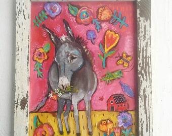 Folk Art Donkey Painting in a Handmade Rustic Frame