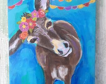 Small Folk Art Donkey Painting