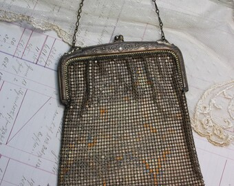 Vintage Mesh Purse- Metal- Antique Silver Purse- Evening Formal Bag- Antique Woven Metal Purse- Ornate Frame
