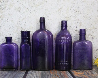PURPLE BOTTLE Lot - Amethyst Antique Bottles- Decorative Unusual Shapes- Instant Collection of Antique Bottles- Baltimore Maryland- B45