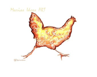Chicken art, kitchen art, chicken print, farm animal art, chicken art, modern chicken , she shed art, Marias Ideas Art