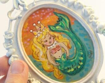 Mermaid painting, mixed media art, upcycled art, Original art, OOAK original art, Mini Painting,  repurposed  Vintage Frame