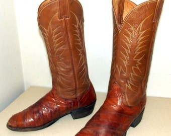 ON SALE Brown Leather  and Eel Nocona brand cowboy boots size 9 D or cowgirl size 10.5
