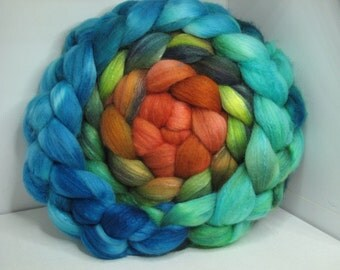 Organic Polwarth/Bombyx 80/20 Roving Combed Top 5oz - Eruption 1
