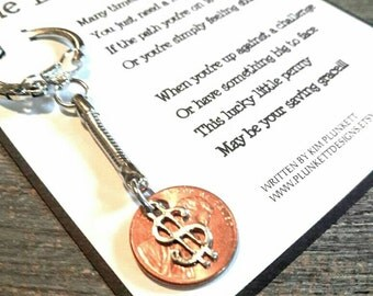 The Lucky Penny - Original Poem And Keychain - Shown With Dollar Sign Charm