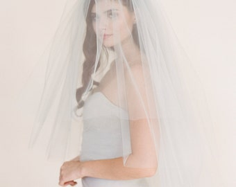 Gray Wedding Veil, Bridal Veil, Ballet Length Tulle Veil, Tulle Veil, Double Double Layer Drop Veil #1717