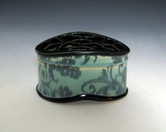 Turquoise and Black Box with Flower and Spiral Pattern