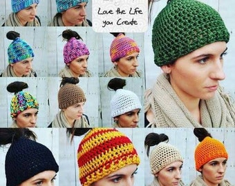 Messy Bun Pony Tail Crocheted Hat Available in a Variety of Colors