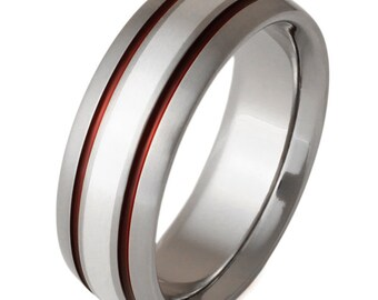 Silver Titanium Wedding Ring with Red Stripes - Silver and Red Band - sv5Red