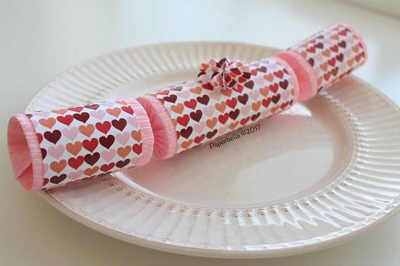 Fill Your Own Party Crackers Valentine Hearts, Party Popper, Personalize with your Monogram, with a Paper Rosette