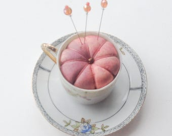 Miniature Teacup Pincushion - Hand Dyed Silk Pincushion - Gift for Mom - Quilter Gift - Sewing Accessory - Secret Sister - Sewing Gift