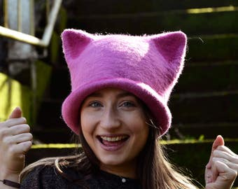 Pink Pussyhat  Pussy Cat Hat,Feminist Hat  Pink Pussy Hat, Felt Pussycat Hat,Women's Rights Hat,Pink Cat Hat,Women's March Hat MADE TO ORDER