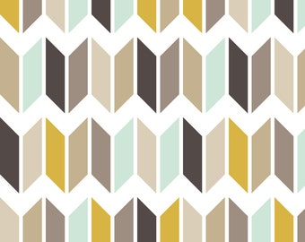 Mod Chevron Fabric - Chevron Slices Mint Gold By Mrshervi - Modern Chevron Home Decor Cotton Fabric By The Yard With Spoonflower