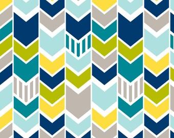 Blue Green Herringbone Chevron Fabric - Custom Blue Green Chevron (Large) By Mrshervi - Chevron Cotton Fabric By The Yard With Spoonflower