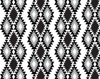Boho Tribal Fabric - Black And Grey Aztec - Navajo Aztec - Monochrome By Modfox - Black and White Cotton Fabric By The Yard With Spoonflower