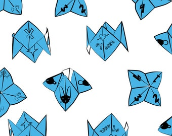 Fortune Teller Fabric - Cootie Catchers (Blue) By Eleventy-Five - Throwback 90s Kids Cotton Fabric By The Yard With Spoonflower