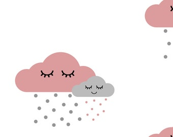 Gray and Pink Sleepy Cloud Fabric - Sleepy Clouds - Dusty Pink And Gray By Ajoyfulriot - Nursery Cotton Fabric By The Yard With Spoonflower