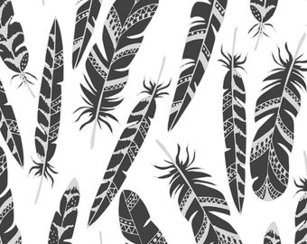 Black and White Boho Fabric - Ethnic Feathers By Juliabadeeva - Gray Bohemian Feathers Cotton Fabric By The Yard With Spoonflower