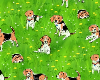 Green Beagle Fabric - Beagles And Dandelions By Vinpauld - Watercolor Beagle Dog Pet Cotton Fabric By The Yard With Spoonflower
