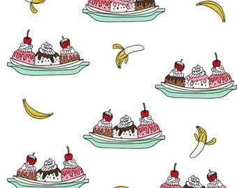 Ice Cream Fabric - Banana Split // Ice Cream Fabric Summer Food - White By Andrea Lauren - Novelty Food Cotton Fabric BTY with Spoonflower