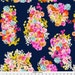 Navy Summer Florals Fabric - Summer Bright Floral Cluster // Navy By Theartwerks - Navy Flower Cotton Fabric by the Yard With Spoonflower