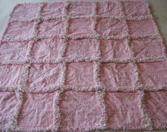 Shabby Cottage Small Flowers Rag Blanket Baby Girl Shower Gift Crib Rag Blanket Stroller Rag Blanket Rag Quilt Blanket 35x35