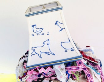 "Blue Animal Lamp Shade, Embroidery Lampshade 4""top x 7""bottom x 7"" high - Nursery Gift, Baby present - Desk lampshade - Vintage Textile"