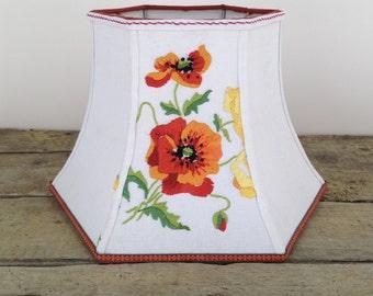 "Poppy Uno Lamp Shade, Orange Bridge Lampshade, Threaded top to screw onto socket, 7""t x 12"" b x 8"" high, Vintage English Embroidery - Bright"