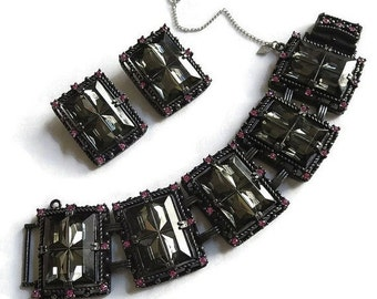 """Smoke Cut Glass & Pink Rhinestones Bracelet and Earrings Set Vintage """"Midnight Magic"""" signed SARAH COVENTRY"""