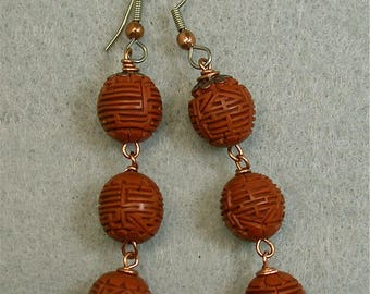 Vintage Chinese Cinnabar RARE Umber Orange Triple Bead Long Earrings, Copper Bead Caps - GIFT WRAPPED