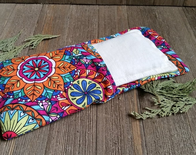 Featured listing image: Aromatherapy Eye Pillow Flax Organic Lavender Mint Yoga Savasana Removable Cover Coloring Book Mandala Relaxation Natural Microwave Compress