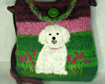 Bichon Dog,Felted Purse, Felted Handbag, Needle Felt Dog, Fiber Art, Custom Pet