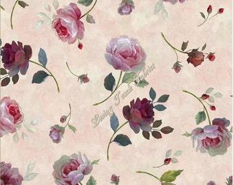 "Quilting Treasures / Nan ""Rosewater"" #24596-P Tossed Roses Fabric Priced Per 1/2 Yd."