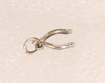 Vintage Tiny Silver Wishbone Charm Good Luck Wishing Wishes Pendant Fob