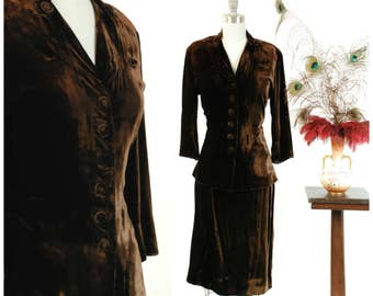 Vintage 1940s Suit - Plush Chocolate Brown Velvet 40s Suit with Jacket and Matching Skirt