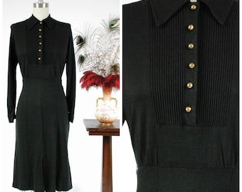Vintage 1940s Dress - Chic Black Wool Jersey 40s Day Dress with Pintucked Bodice and Sleek Lines