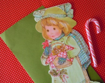 Large Unused Vintage Christmas Holiday Card Cute Little Girl with Gingerbread Cookie Basket