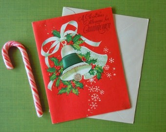 Vintage Unused Christmas Greeting Holiday Card for Grandmother | Mid Century Christmas Bells Card