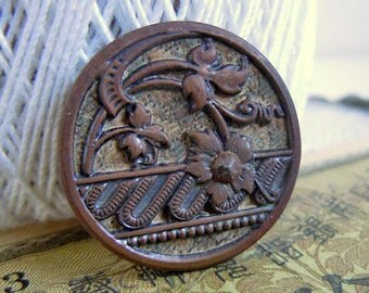 "1"" Antique Stamped Metal Sewing Button Art Nouveau Floral Design Flowers"
