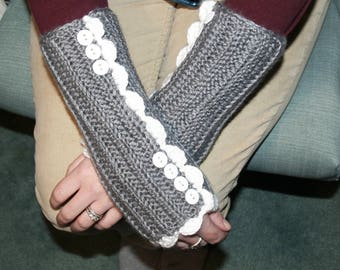 Victorian Fingerless Gloves - Grey Crocheted Wristlets, Downton Abbey Style, Women's Arm Warmers, Gray Texting Gloves, Ready To Ship