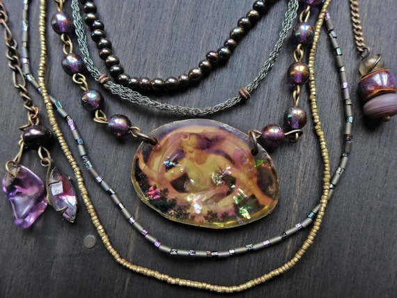 Purple Etheria. Artisan multi strand necklace with rustic resin.