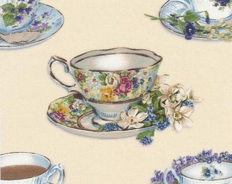 Teatime Quilt Kit~Teacups~Teapots~Green~Rose~Cream~Roses~Paisley~Floral~Fabric~QK#13
