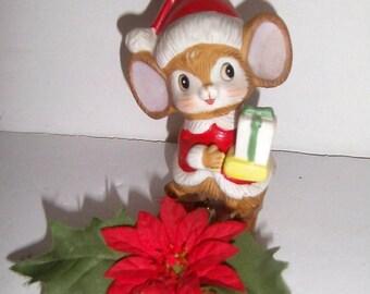 Blow Out Sale Vintage Santa Mouse on Mouse Trap - Vintage Handmade Christmas Decoration - Vintage Holiday Decor - Mouse Christmas Decor