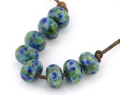 Coral Reef Handmade Glass Lampwork Beads (8 Count) by Pink Beach Studios - SRA (2619)