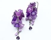 CROCUS Earrings, Long Purple Earrings, Bridal Dangles, Cottage Chic Dangles, Floral Cluster Earrings, Long Art Nouveau Earrings