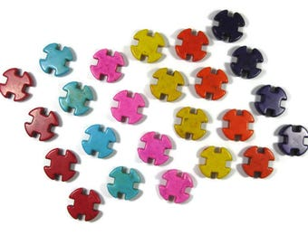 Large 25mm Cross Howlite Beads Set of Four