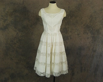 vintage 50s Mexican Wedding Dress - 1950s White Cotton Pintucks and Lace Dress - White Lace Dress Wedding Gown Sz XS