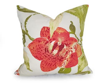 Orange Coral Floral Pillow Cover, Orange Green Decorative Pillows, Designer Floral Pillow Case, Large Floral Pillow, 12x18, 18x18