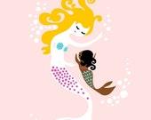 "SHOPWIDE CLEARANCE 8X10"" mermaid mother & baby girl giclee print on fine art paper. pink, blonde, chocolate skin"